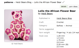 Lollo African Flower Bear Pattern