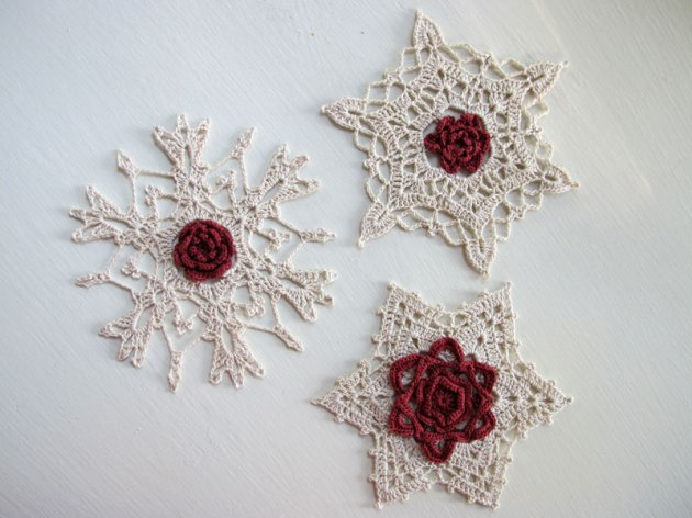 Crochet snowflake ornaments